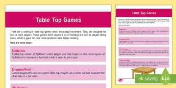 Table Top Exercise Guide - Exercise, Tabletop, ideas, activities, support, elderly care, care homes, activity coordinators
