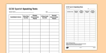 GCSE Spanish Speaking Test Sequence Template - GCSE, Speaking, Exam, Test, Admin, Template