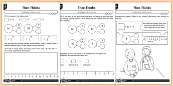 Finding Gaps in Addition Sentences Differentiated Activity Sheets - Addition and Subtraction, gaps, reasoning, context, explaining, inverse, representations, part-whole