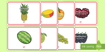 Fruit Words on Fruit Display Posters English/Spanish - EAL, apple, banana, strawberry, plumb, peach, pear, mango, pineapple, cherries, blackberries, diet,