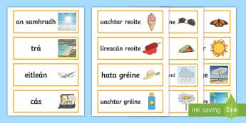 Cártaí Focail an tSamhraidh - Summer Word Cards, cártaí focail an tsamhraidh, samhradh, Summer, Word cards, cártaí focail, cá