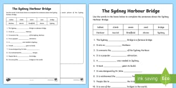 Sydney Harbour Bridge Cloze Activity Sheet - Reading, guided reading, comprehension, Australian landmarks, New South Wales,Australia