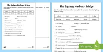 Sydney Harbour Bridge Cloze Activity Sheet - Reading, guided reading, comprehension, Australian landmarks, New South Wales,Australia