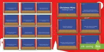 Christmas Mime Challenge Cards - Drama games, Party game, icebreaker, Christmas drama, Christmas traditions,Scottish