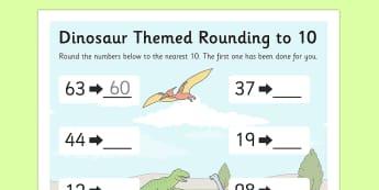 Dinosaur Themed Rounding To 10 Worksheet - Dinosaur, Round, Ten
