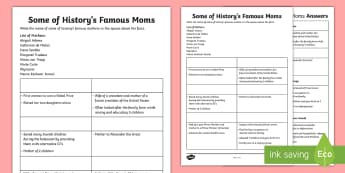 Some of History's Famous Moms Activity - Canada Mother's Day 14th May, facts, world history, matching, Junior Grades, Grade 4, Grade 5, grad