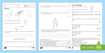 KS3 Pressure Homework Activity Sheet - Homework, pressure, force, mass, weight, newtons, newton, pascal, pascals, solid, solids, fluid, flu