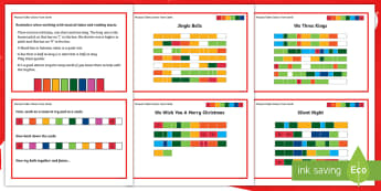 Christmas Musical Tubes Colour Tune Cards - KS2 music, boomwhackers, boomtubes, boom whackers, boom tubes, tunes, play, perform, notation, nurse