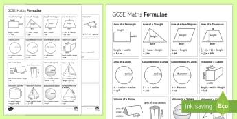 GCSE Maths Formulae Overview - area, quadratic, Volume, Sine Rule, Cosine Rule