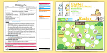 3D Shape Easter Board Game EYFS Adult Input Plan and Resource Pack