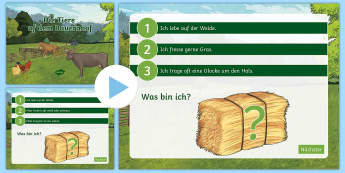 Farm Animal What Am I? PowerPoint German - Animals, German, farm, game, MFL