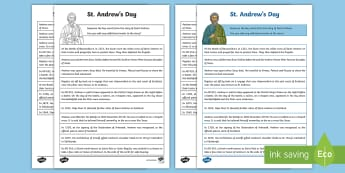 St. Andrew's Day Sequencing Activity Sheet - Scotland, Patron Saints, Scottish Events, Saints, Feast Day