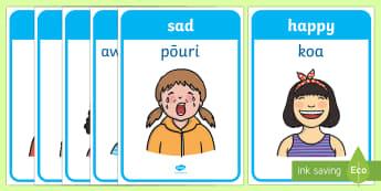 Emotions and Expressions Display Posters Te Reo Maori Translation - New Zealand, Te Reo, Maori, feelings, emotion, feel,