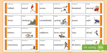 Sports Loop Cards - German - Sports, Hobbies, German, MFL, languages, Sportarten, DAF, DAZ