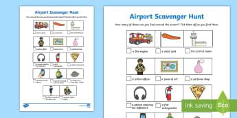 Airport Scavenger Hunt Activity Sheet 2 - holiday, travel, journeys, family, flying, worksheet