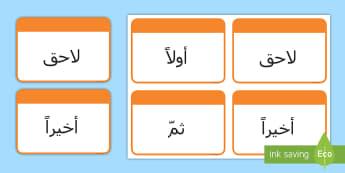 بطاقات تعليمية - أولا، التالي، ثم وأخيرا  - كلمات العطف عن الوقت، الوقت، مبتدئين الجملة، العطف، تع