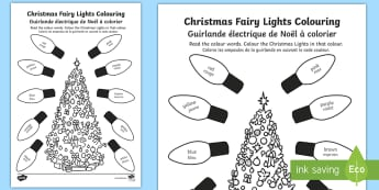 Christmas Fairy Lights Colouring Page English/French - colouring, drawing, christmas, tree, EAL French,French