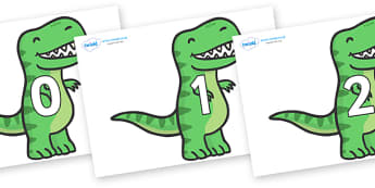 Numbers 0-100 on T Rex Dinosaurs - 0-100, foundation stage numeracy, Number recognition, Number flashcards, counting, number frieze, Display numbers, number posters