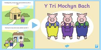 Pŵerbwynt Stori Y Tri Mochyn Bach - tri mochyn bach, stori, traddodiadol, llythrennedd, iaith,Welsh