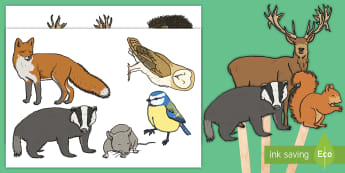 Woodland Animals Stick Puppets - EYFS, Early Years, KS1, Key Stage 1, Small world, animals, british wildlife, forest, woodland.