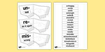 Prefix Pockets Template - prefixes, suffix, writing aid, literacy