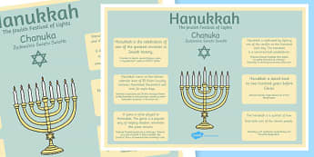 Hannukah Large Information Poster KS2 Polish Translation - hannukah, channukah, jewish, festival, judaism, celebration, religion, re, culture