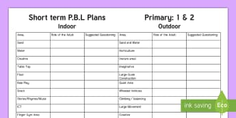 P.B.L. Short Term Plan - Role of the Adult Planning Template - Play, PBL, play plans, provision, continuous provision