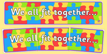 We All Fit Together Display Banner - transition, jigsaw, header