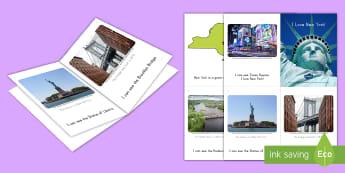 I Love New York! Emergent Reader - New York, Statue Of Liberty, Brooklyn Bridge, Adirondack Mountains, Text Features, Catskills Mountain