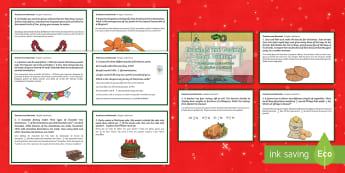 Fractions and Decimals Word Problems Christmas Maths Challenge Cards English/Portuguese - Christmas Maths KS2, Y5, Year 5, Y6, Year 6, fractions, decimals, word problems, eal