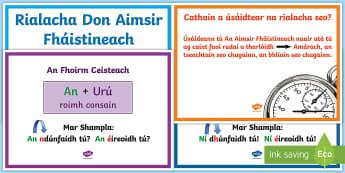 The Future Tense (An Aimsir Fháistineach) Basic Rules Display Posters Gaeilge   - an, aimsir, fháistineach, rialacha, posters,Irish