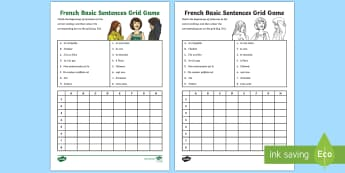 French Basic Sentences Grid Game - KS2, French, Resources, basic sentences, game, match up,pairs