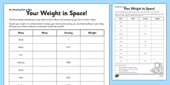 Your Weight in Space Activity Sheet - weight, mass, space, activity, worksheet