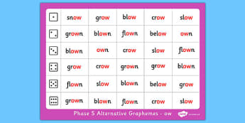 Phase 5 Alternative Graphemes Ow Roll and Read Mat - phase 5, alternative, graphemes, ow, roll, read, mat