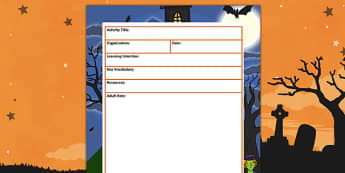 Halloween Themed Adult Led Carpet Based Activity Plan Template