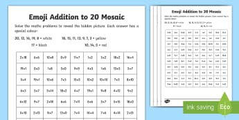 Emoji Addition to 20 Mosaic Activity Sheets - addition, subtraction, colour, colouring, emoji, maths, numeracy, plus, worksheet, adding, takeaway,