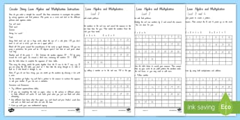 Algebra Mathematical Inquiry Differentiated Activity Sheets - mathematics inquiry, algebra, times tables, multiplication, circle looms, string art