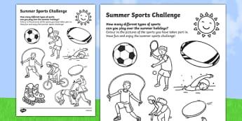 Summer Sports Challenge Worksheet / Activity Sheet, worksheet