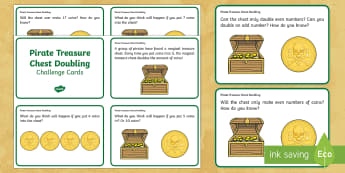 Pirate Treasure Chest Doubling Challenge Cards - KS1 Maths, investigate, investigation, open ended, try, solve, problem, find, discuss, deeper learni