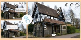 A Tudor House Picture Hotspots - KS2, Tudor house, Tudor house hotspot, information, history hotspot, The Tudors, building materials, Twinkl Go, twinkl go, TwinklGo, twinklgo