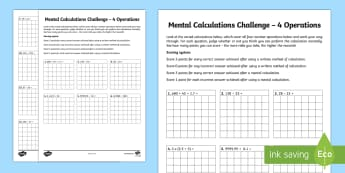 Mental Calculations Challenge 4 Operations - Speed, time limit, mental, calculations, challenge