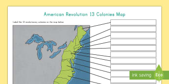 American Revolution 13 Colonies Map - Colonies, American Revolution, Revolutionary War, Map, Battles, American War,