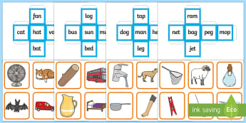 CVC Words Dice Matching Game - cvc words, cvc, words, dice, matching, match, activity, game