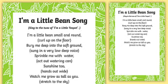 I'm a Little Bean Song Lyric Sheet (With Actions) - song, singing, bean, little, sing, class