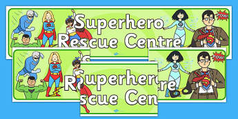 Superhero Rescue Centre Role Play Banner-superhero rescue centre, superheroes, role play, banner, role play banner, superhero banner