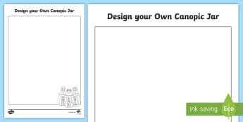 Design Your Own Canopic Jar Activity Sheet - egypt, egyptian, craft, ancient egypt, art