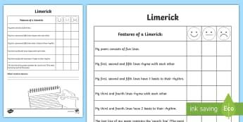 Writing a Limerick Poem Self Assessment Tracker - Limerick,Poetry, Poem, Writing, Self, Assessment ,Irish
