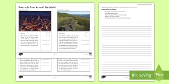 Postcards from Around the World Activity Sheet  - Secondary - Geography - Tourism, worksheet