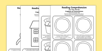 Reading Comprehension Six Key Words Activity Sheets Polish Translation - Comprehension, information carrying words, key words, following instructions, worksheet