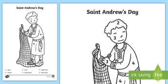 Saint Andrew's Day Colour by Number - events, scotland, topic, numeracy, colouring sheet